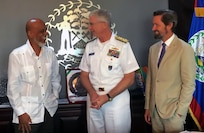 The commander of U.S. Southern Command, Navy Adm. Craig Faller, meets with Belizean Prime Minister Dean Barrow.