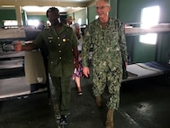 The commander of U.S. Southern Command, Navy Adm. Craig Faller, visits the Belize Youth Challenge Program (BYCP) which is managed by the Belize Defense Force with support from the Louisiana National Guard