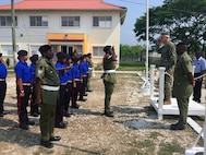 The commander of U.S. Southern Command, Navy Adm. Craig Faller, visits the Belize Youth Challenge Program (BYCP) which is managed by the Belize Defense Force with support from the Louisiana National Guard.
