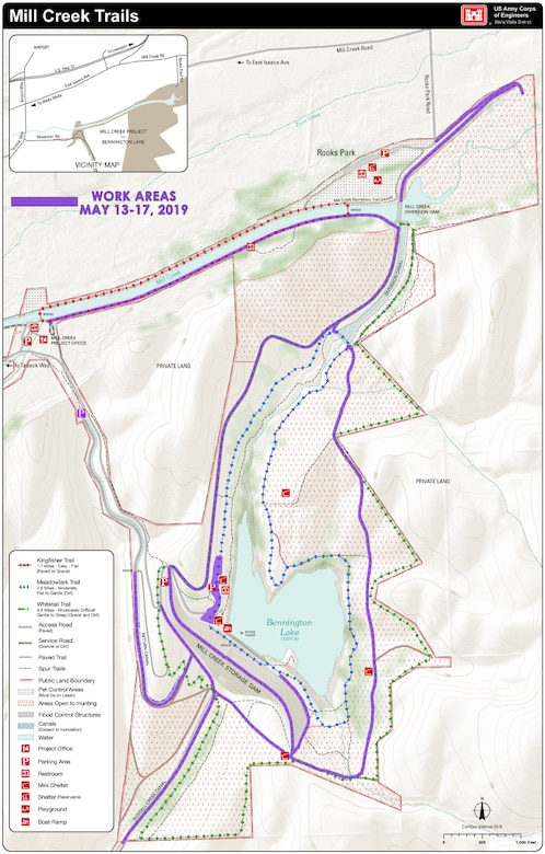Work to re-grade gravel maintenance-access roads throughout the Mill Creek Dam and Bennington Lake project area will require intermittent trail closures May 13-17. For safety, visitors should respect all closed areas, and be aware of construction vehicles and trucks traveling along the gravel and paved roads on the project during this period.