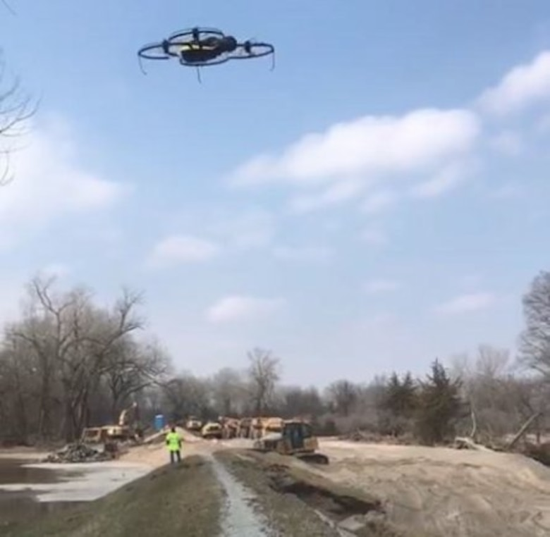 An Omaha District Unmanned Aerial System captures work on the Union Dike near Valley Nebraska after the 2019 runoff event. The flood event was due to water runoff from unregulated tributaries and compromised more than 500 miles of levees along the Missouri River.