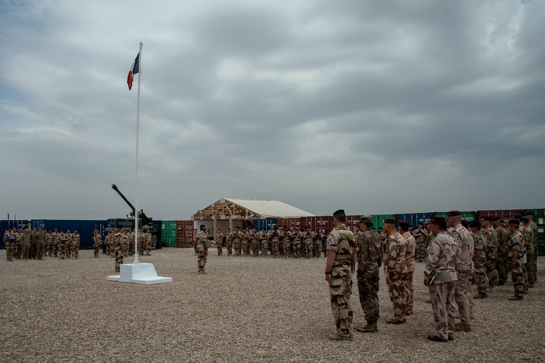 Task Force Wagram met to celebrate the end of the longest deployment of CAESAR artillery personnel April 29, 2019, Iraq. More than 1,100 French soldiers have been deployed within TF Wagram in Iraq to support ground troops in the liberation of territories under Daesh control.
