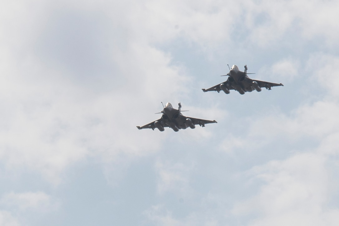 A French Rafale fighter jet takes off from an air base in Southwest Asia. Two Rafales destroyed Daesh tunnels in Iraq April 4. The fighters provide overwatch and close air support for ground troops.