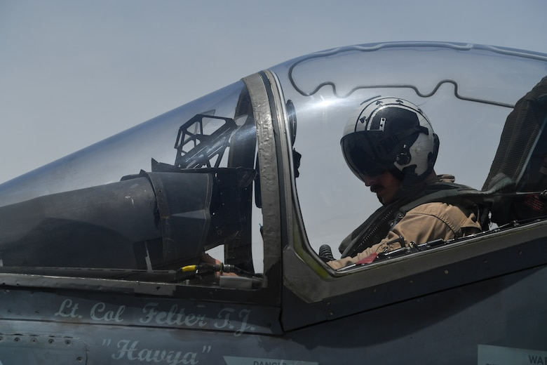 A U.S. Marine prepares to take off in an AV-8B Harrier II during Desert Flag 19-2 in Southwest Asia, April 28, 2019. Desert Flag is designed to exercise combined Air Forces in military operations to enhance competence and strengthen military-to-military relationships and regional security.