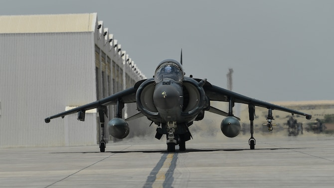A U.S. Marine Corps AV-8B Harrier II taxies down the flightline during Desert Flag 19-2 in Southwest Asia, April 28, 2019. Desert Flag is designed to exercise combined Air Forces in military operations to enhance competence and strengthen military-to-military relationships and regional security.