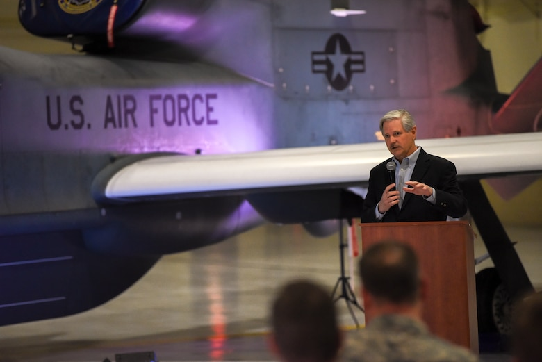 John Hoeven, U.S. Senator of North Dakota, spoke with Air Force leadership and Grand Forks community partners at Grand Forks Air Force Base, North Dakota, prior to the announcement of the upcoming 319th Air Base Wing's re-designation to the 319th Reconnaissance Wing May 11, 2019. The official re-designation ceremony is scheduled for June 28, 2019, the effective date of re-designation. (U.S. Air Force photo by Staff Sergeant Michael Reeves Jr.)