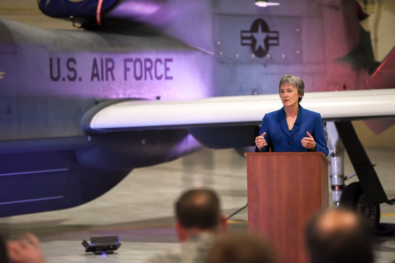 Heather Wilson, Secretary of the Air Force, announced the 319th Air Base Wing's upcoming re-designation to the 319th Reconnaissance Wing May 11, 2019 at Grand Forks Air Force Base, North Dakota. The re-designation, initiated by Commander Air Combat Command Gen. Mike Holmes, aligns Grand Forks AFB's host wing and the 69th Reconnaissance Group.  The 69 RG, which flies the high-altitude, remotely-piloted RQ-4 Global Hawk aircraft, has been aligned under the 9th Reconnaissance Wing at Beale Air Force Base, California, since it initiated operations as a tenant at Grand Forks AFB in 2011. The official re-designation ceremony is scheduled for June 28, 2019, the effective date of re-designation. (U.S. Air Force photo by Staff Sergeant Michael Reeves Jr.)