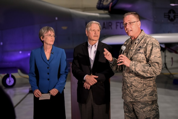 Colonel Benjamin Spencer, 319th Air Base Wing commander, answered questions alongside Heather Wilson, Secretary of the Air Force and John Hoeven, U.S. Senator of North Dakota about the future of the RQ-4 Global Hawk mission during the announcement of the upcoming re-designation to the 319th Reconnaissance Wing May 11, 2019 at Grand Forks Air Force Base, North Dakota. The official re-designation ceremony is scheduled for June 28, 2019, the effective date of re-designation. (U.S. Air Force photo by Staff Sergeant Michael Reeves Jr.)