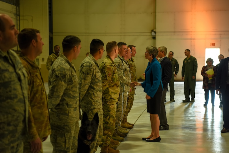 Heather Wilson, Secretary of the Air Force, met with Airmen after announcing the 319th Air Base Wing's re-designation to the 319th Reconnaissance Wing May 11, 2019 at Grand Forks Air Force Base, North Dakota. The official re-designation ceremony is scheduled for June 28, 2019, the effective date of re-designation. (U.S. Air Force photo by Senior Airman Elijiah Tiggs)