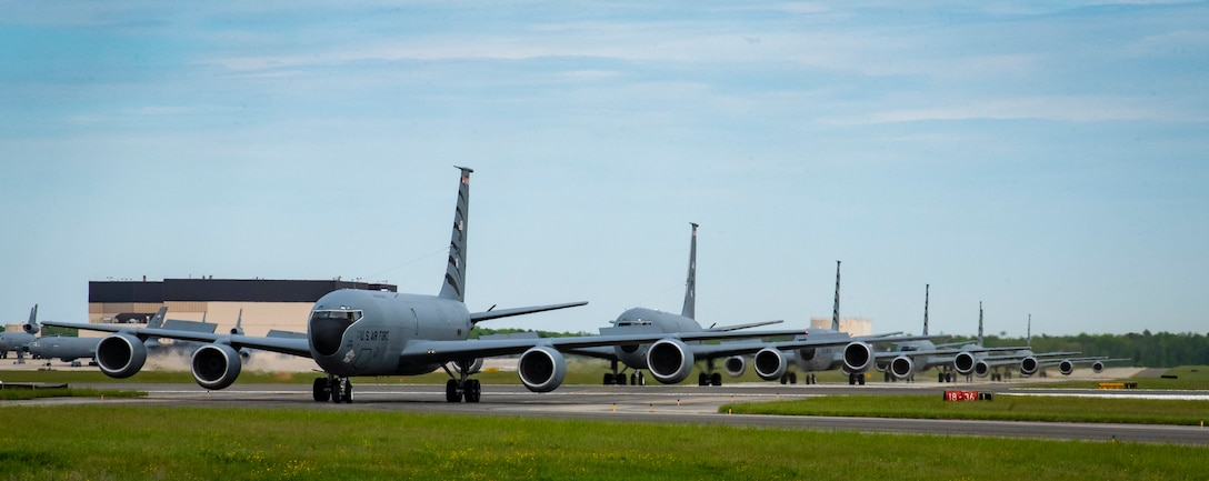 Six KC-135 Stratotankers from the 108th Wing assigned to the 141st Air Refueling Squadron, New Jersey Air National Guard, taxi at Joint Base McGuire-Dix-Lakehurst, N.J., May 11, 2019. The NJANG Stratotankers support the Air Mobility Command with mid-air refueling and air bridge support to overseas contingency operations and homeland defense. (U.S. Air National Guard photo by Staff Sgt. Ross A. Whitley)