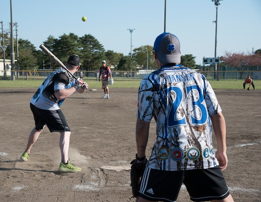 U.S. Air Force 35th Security Forces Squadron members square off against the 35th Medical Operations Squadron during the 2019 Cinco de Mayo softball tournament at Misawa Air Base, Japan, May 4, 2019. This softball tournament helped bolster teamwork and relations between different units through a sporting event. (U.S. Air Force photo by Branden Yamada)