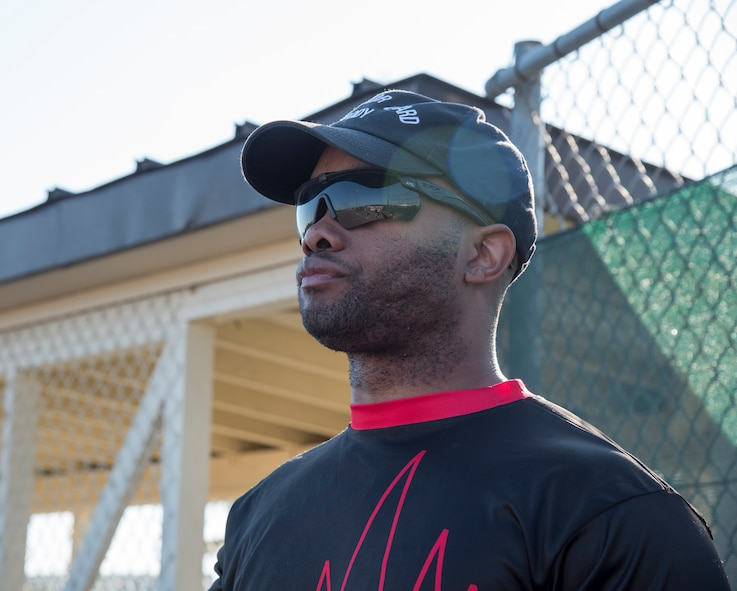 U.S. Air Force Master Sgt. Malcolm Sharpe, the 35th Medical Operations Squadron mental health clinic NCO in charge, keeps his eyes on a game during the 2019 Cinco de Mayo softball tournament at Misawa Air Base, Japan, May 4, 2019. The tournament is one of many sporting events held on Misawa AB, promoting teamwork and helping Airmen meet others on the base. (U.S. Air Force photo by Branden Yamada)