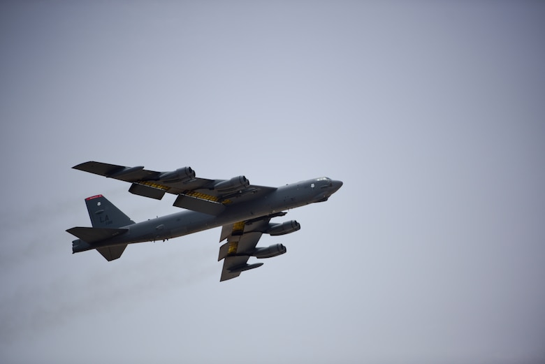 A photo of B-52 bomber taking off.
