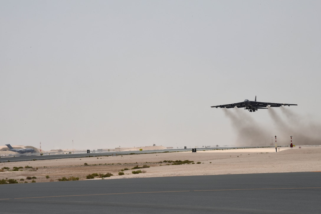 A photo of B-52 bomber taking off