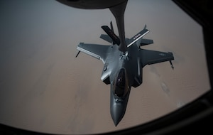 A photo of an F-35A refueling in midair.
