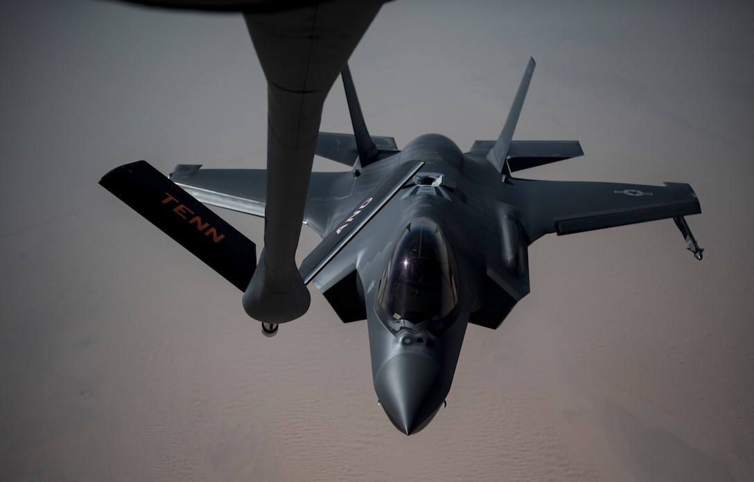 A photo of an F-35A preparing for a midair refueling.