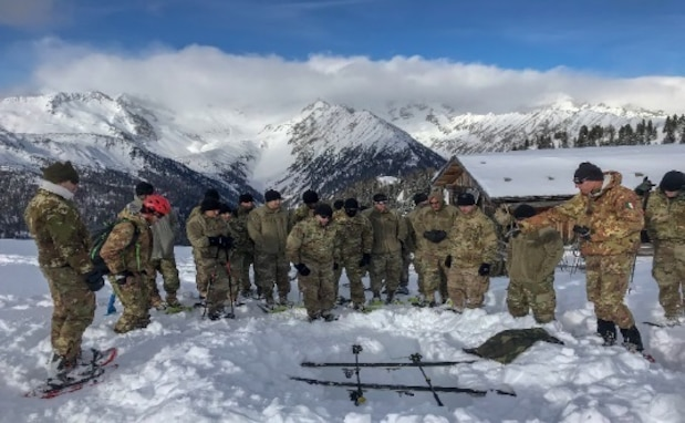 "US Army Reserve unit climbs ""Mount Alpini"" alongside Italian 6th Alpini Regiment"