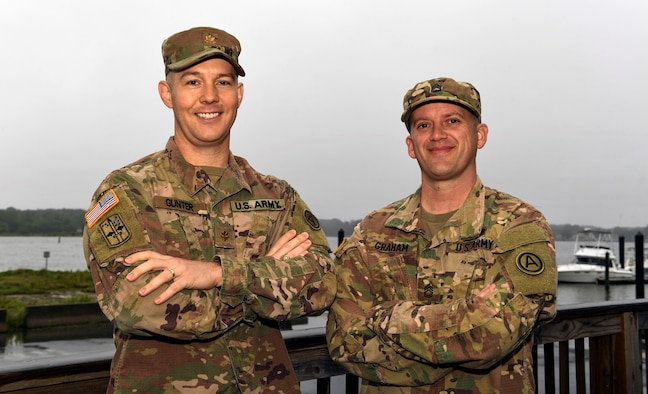 U.S. Army Maj. Nathan Gunter, left, and U.S. Army Sgt. 1st Class Jeremy Graham, both 497th Operations Support Squadron ground liaison officers, stand together for a photo May 13, 2019 at Joint Base Langley-Eustis, Virginia. In daily operations, U.S. Army ground liaison officers assist U.S. Air Force intelligence Airmen by translating Army operational and tactical terminology and graphics in operations orders to verbiage that Airmen can understand. Ultimately, the U.S. Army's ground liaison mission creates a strategic enabler for senior leaders in multiple services. They serve as the air component's touchpoint with the land component and help ensure a multi-domain perspective is applied when planning and executing air operations. (U.S. Air Force photo by Tech. Sgt. Nick Wilson)