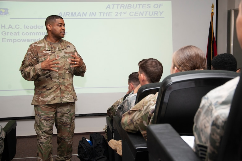 Chief Master Sgt. Phillip Easton, U.S. Air Forces in Europe and Air Forces Africa command chief, speaks to junior noncommissioned officers.