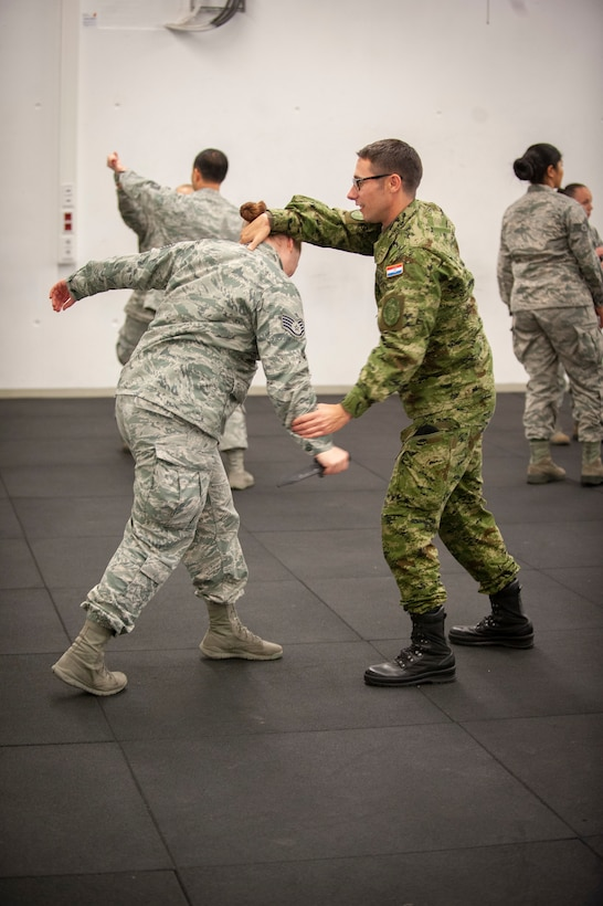 Croatian Air Force Sergeant Ivan Milin attempts to disarm a simulated attacker with a plastic weapon during Krav Maga training.
