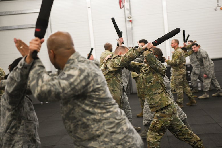U.S. Airmen, Soldiers, and NATO service members practice Krav Maga, a form of self-defense.