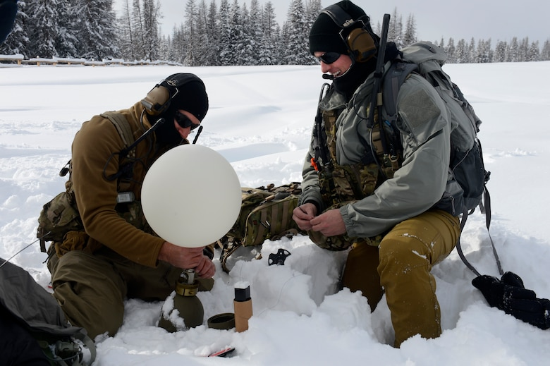 U.S. Air Force Special Tactics Airmen with the 24th Special Operations Wing perform avalanche training at Moran, Wyoming, Dec. 13, 2016. Special Operations Weather Team Airmen have been an integral piece of Special Tactics with unique training to conduct multi-domain reconnaissance and surveillance across the spectrum of conflict and crisis. (U.S. Air Force photo by Staff Sgt. Sandra Welch)