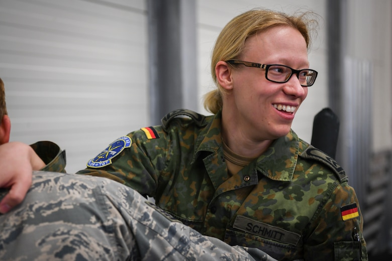 German Air Force Sergeant Katharina Schmitt participates in Krav Maga training.