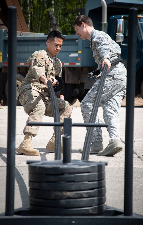 Airmen participate in an obstacle course during Atlantic Stripe.