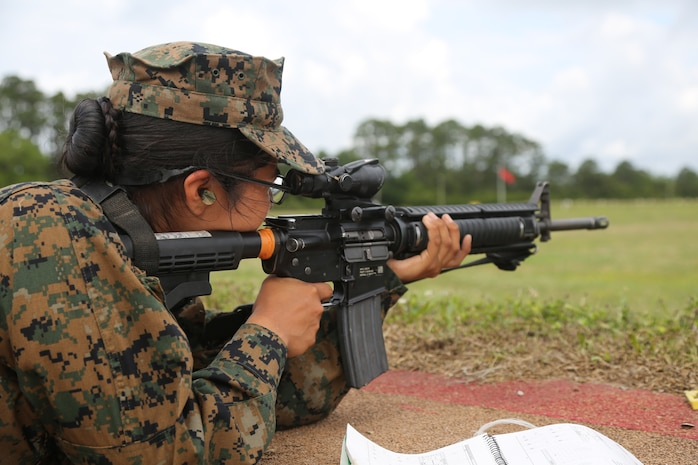 Recruits with Mike and Papa Companies shoot their first course of fire on Marine Corps Recruit Depot Parris Island, S.C., May 7, 2019.  Recruits shoot at a variety of distances on several targets as part of their marksmanship assessment during Recruit Training.  (U.S. Marine Corps photo by Lance Cpl. Samuel Fletcher)