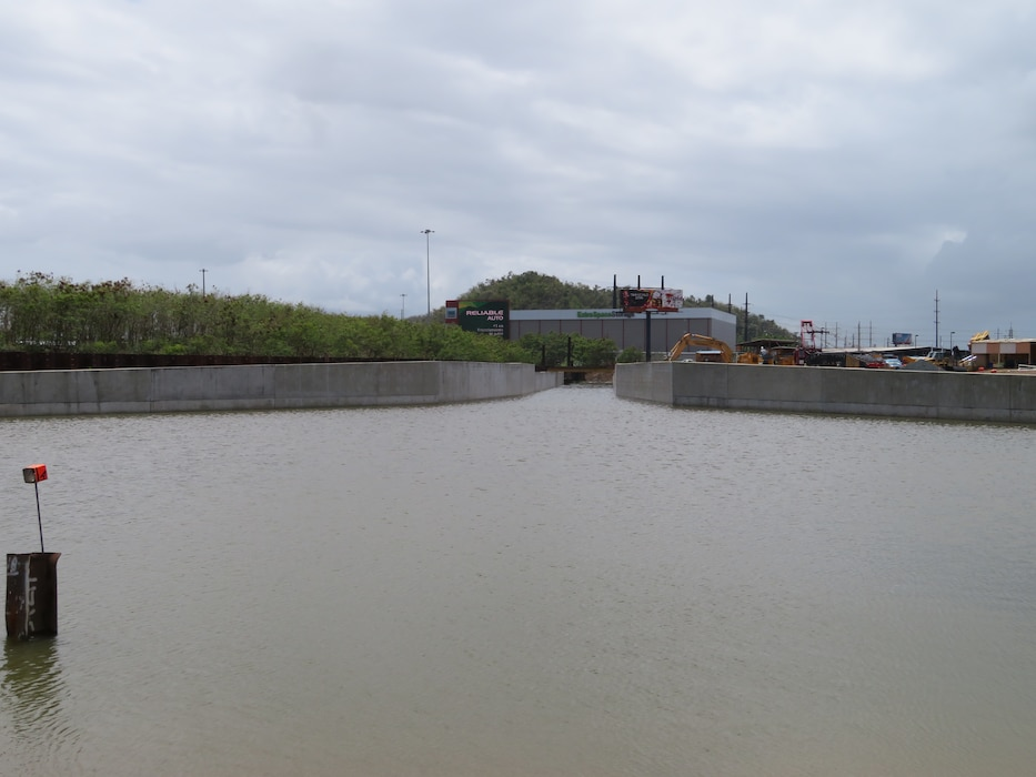 Rio Puerto Nuevo water inside newly constructed concrete channel