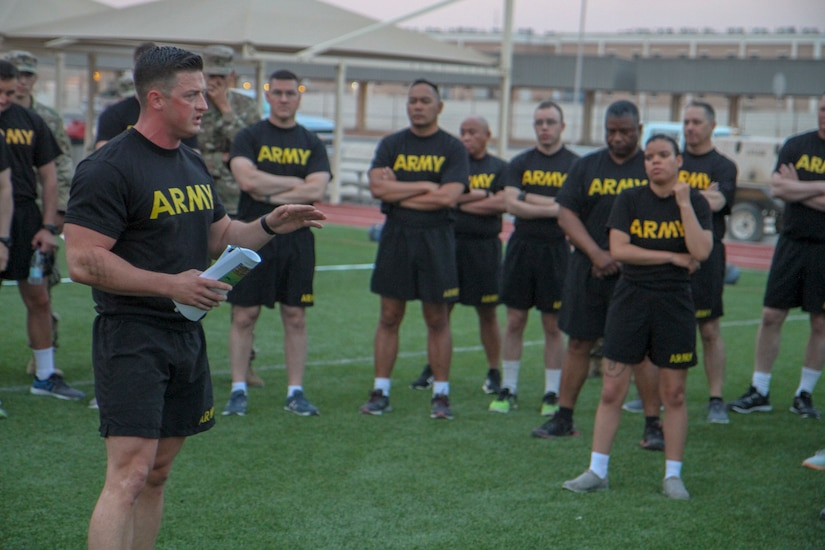 Staff Sgt. Piotr Janczelewski, operations noncommissioned officer, Headquarters and Headquarters Company, 1st Battalion, 114th Infantry Regiment, briefs Soldiers from the security forces at Area Support Group-Qatar on the Army Combat Fitness Test during a hands-on training May 4, 2019. The ACFT is currently in the field-testing stage before being implemented across all three components of the Army beginning in October 2020.