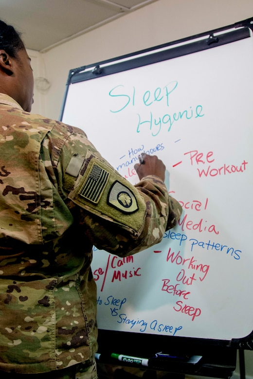 Army Capt. Tiffany Taylor, a behavioral health officer assigned to the 300th Special Troops Battalion, 300th Sustainment Brigade, 4th Expeditionary Sustainment Command, conducts a sleep hygiene class at Camp Arifjan, Kuwait, April 25, 2019. U.S. Army Central communicates the ways the Army takes care of its Soldiers and families to ensure equal opportunity and quality of life so they are ready to fight and win our nation's wars.