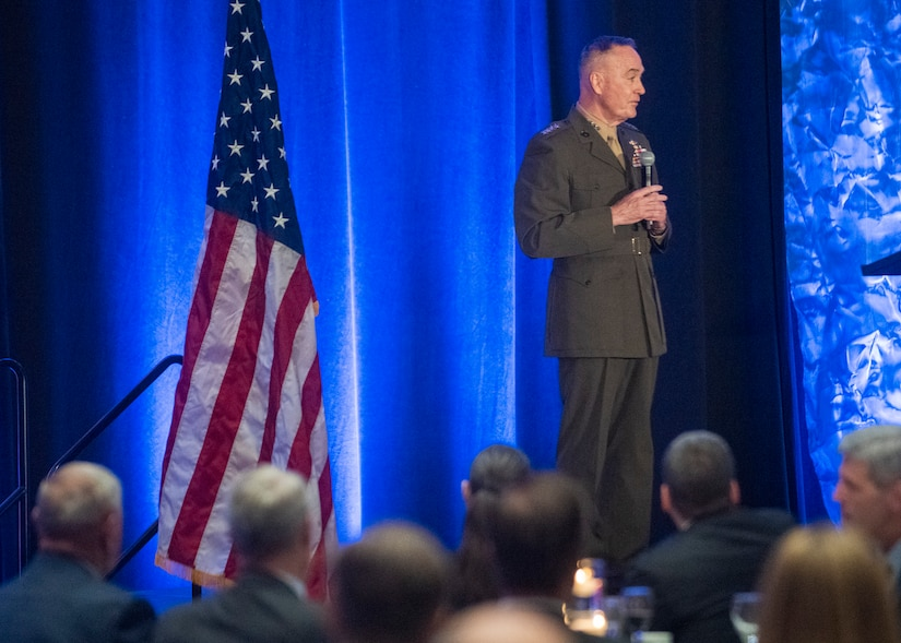 Marine Corps Gen. Joe Dunford, chairman of the Joint Chiefs of Staff, addresses the crowd after receiving the 2019 Dwight D. Eisenhower award at the National Defense Industrial Association dinner in Arlington, Virginia, May 10, 2019.