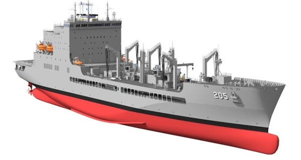 Artist's rendering of the future USNS John Lewis (T-AO 205), courtesy General Dynamics - National Steel and Shipbuilding Co.