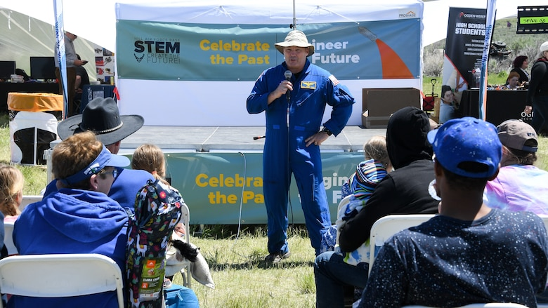 "Astronaut Scott Tingle speaks about his experiences on the International Space Station during the Golden Spike Sesquicentennial Celebration May 10, 2019, at Promontory Summit, Utah. Event festivities included an ""Innovation Summit"" that focused on STEM-related activities hosted by Hill Air Force Base, industry, and secondary and higher education. (U.S. Air Force photo by R. Nial Bradshaw)"