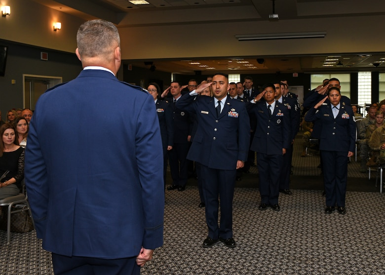 U.S. Air Force Lt. Col. Herbert Millet III officially takes command of the 313th Training Squadron from Lt. Col. David Sarabia during a change-of-command ceremony at the event center on Goodfellow Air Force Base, Texas, May 10, 2019. Millet began his career in the Air Force in 1992 as an enlisted Airman and was commissioned in 2003 through Officer Training School. (U.S. Air Force photo by Airman 1st Class Robyn Hunsinger/released)