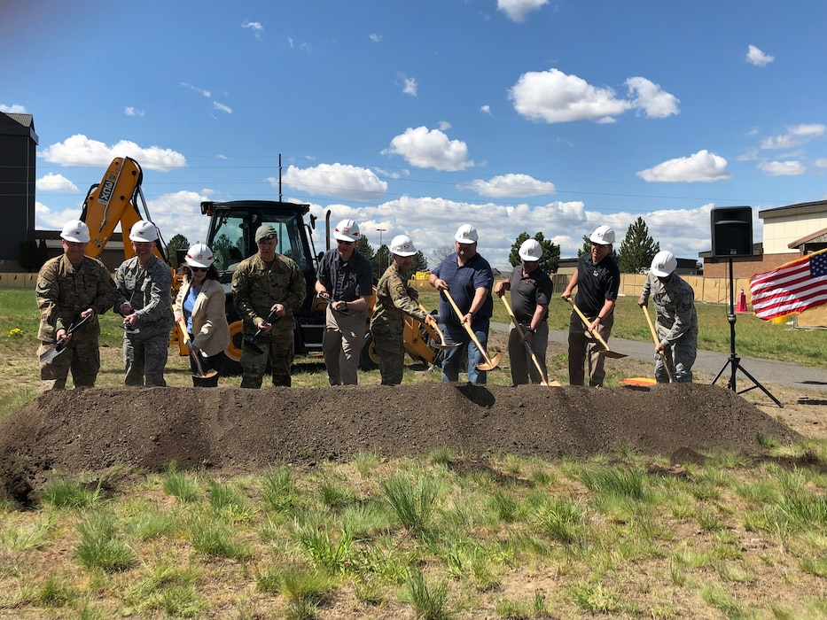 A groundbreaking ceremony was held at Fairchild Air Force Base with officials from the 92nd Air Refueling Wing, Survival/Evasion/Resistance/Escape (SERE) School, Air Force Civil Engineer Center, Garco Construction and Seattle District for the new SERE Pipeline Dormitory project, May 8, 2019.