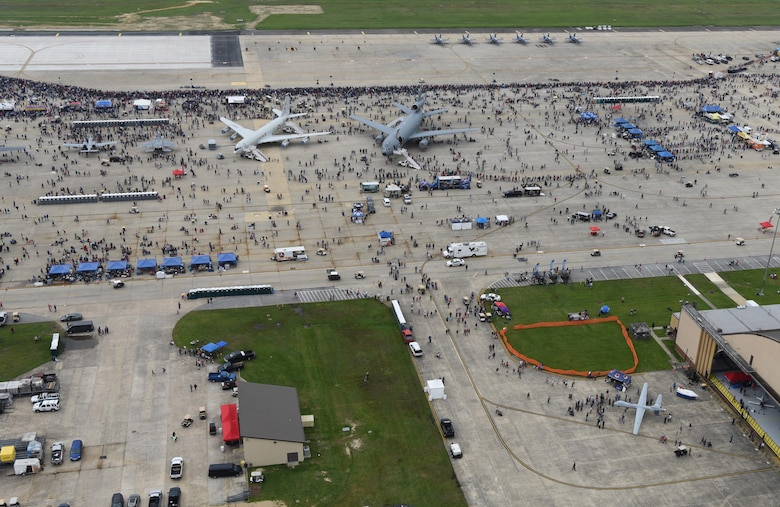 An aerial view of the flight line during the Joint Base Andrews 2019 Air and Space Expo at Joint Base Andrews, Maryland, May 10, 2019. Displayed among aircraft like the T-38 Talon and C-5 Galaxy, the MQ-9 Reaper was the only Remotely Piloted Aircraft in attendance at this year's airshow. (U.S. Air Force photo by Airman 1st Class Haley Stevens)