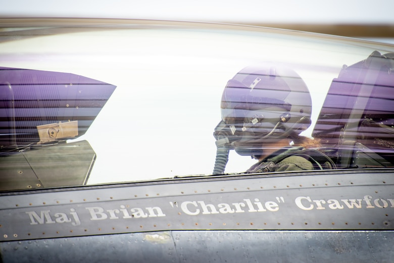 Capt. Kaleigh Moses, 56th Medical Operations Squadron nurse practitioner, sits in the backseat of an F-16D Fighting Falcon at Luke Air Force Base, Ariz., May 10, 2019. Kaleigh received a familiarization flight in the jet to help her understand how the contributions she makes as a nurse practitioner directly affects the pilots who teach and train the world's greatest fighter pilots. (U.S. Air Force photo by Staff Sgt. Jensen Stidham)