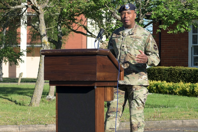 U.S. Air Force Lt. Col. Lawrence Wyatt, 100th Security Forces Squadron commander, speaks at the opening ceremony for National Police Week at RAF Mildenhall, England, May 13, 2019. The purpose of Police Week is to honor law enforcement members who have made the ultimate sacrifice in the line of duty. (U.S. Air Force photo by Senior Airman Benjamin Cooper)