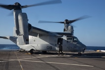 A U.S. Marine Corps MV-22B Osprey with the Special Purpose Marine Air-Ground Task Force-Crisis Response-Africa 19.2, Marine Corps Forces Europe and Africa, sits on the flight deck aboard the USS Arlington (LPD-24) in the Mediterranean Sea, May 6, 2019. SPMAGTF-CR-AF 19.2 conducted deck-landing qualifications to increase proficiency and decrease crisis-response time for contingencies. SPMAGTF-CR-AF is deployed to conduct crisis-response and theater-security operations in Africa and promote regional stability by conducting military-to-military training exercises throughout Europe and Africa. (U.S. Marine Corps photo by Staff Sgt. Mark E. Morrow Jr.)