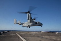A U.S. Marine Corps MV-22B Osprey with the Special Purpose Marine Air-Ground Task Force-Crisis Response-Africa 19.2, Marine Forces Europe and Africa, takes off of the flight deck aboard the USS Arlington (LPD-24) in the Mediterranean Sea, May 6, 2019. SPMAGTF-CR-AF 19.2 conducted deck-landing qualifications to increase proficiency and decrease crisis-response time for contingencies. SPMAGTF-CR-AF is deployed to conduct crisis-response and theater-security operations in Africa and promote regional stability by conducting military-to-military training exercises throughout Europe and Africa. (U.S. Marine Corps photo by Staff Sgt. Mark E. Morrow Jr.)