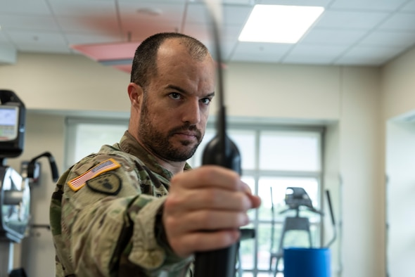 U.S. Army Sgt. 1st Class David Bedford, U.S. Army Central Command explosive ordnance disposal noncommissioned officer, works through his physical therapy regimen at Shaw Air Force Base, S.C., May 10, 2019.
