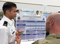 2nd Lt. Matthew Griffin, student, U.S. Military-Baylor Graduate Program in Nutrition, discusses his research findings regarding the effects of sleep restriction on dietary intake. Griffin presented his findings as part of the 2019 Graduate School Research & Education Symposium hosted by the U.S. Army Medical Department Center and School, Health Readiness Center of Excellence, and the University of Texas Health Science Center San Antonio, May 8-9, 2019.