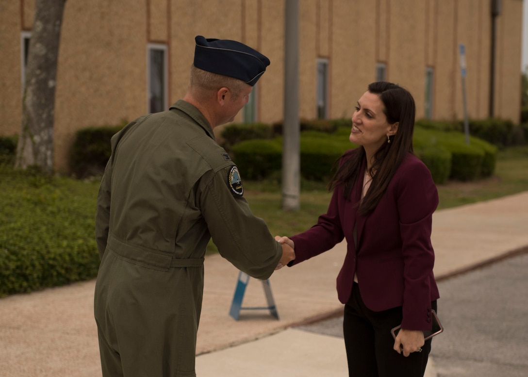 U.S. Air Force Col. Brian Laidlaw, 325th Fighter Wing commander, greets Jeanette M. Nunez, Lieutenant Governor of Florida, at Tyndall Air Force Base, Florida, April 24, 2019.