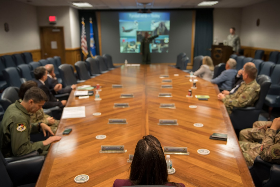 Military and civic leaders discuss strategies for a dynamic rebuilding effort at Tyndall Air Force Base, Florida, April 24, 2019.