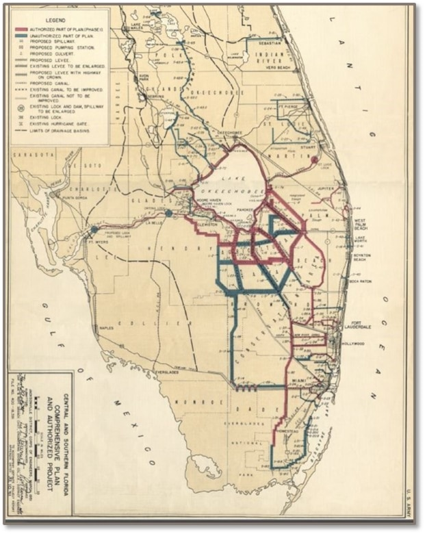 Historic Map of Central and Southern Florida (C&SF) Project
