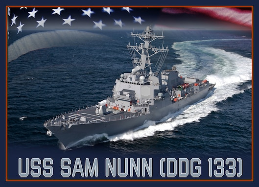 190506-N-DM308-001 WASHINGTON (May 6, 2019) An artist rendering of the future Arleigh Burke-class guided-missile destroyer USS Sam Nunn (DDG 133). (U.S. Navy photo illustration/Released)