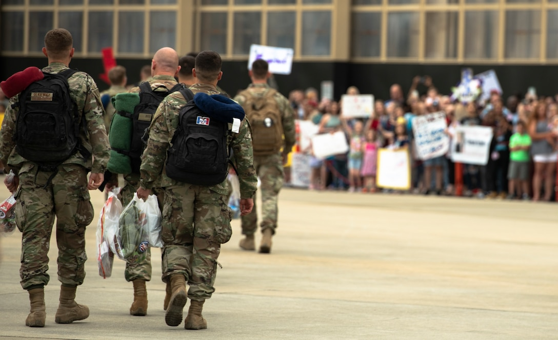 U.S. Airmen assigned to the 55th Fighter Squadron and 20th Aircraft Maintenance Squadron, 55th Aircraft Maintenance Unit as well as supporting units return from a deployment to an undisclosed location in Southwest Asia to Shaw Air Force Base, S.C., May 4, 2019.