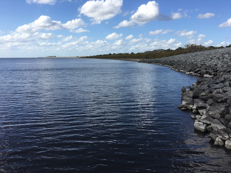 Lake Okeechobee looking north from Structure S-269 (formerly known as Culvert 11) to Port Mayaca